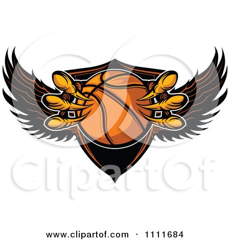 Clipart Eagle Talons Grabbing A Basketball And A Winged Shield - Royalty Free Vector Illustration by Chromaco