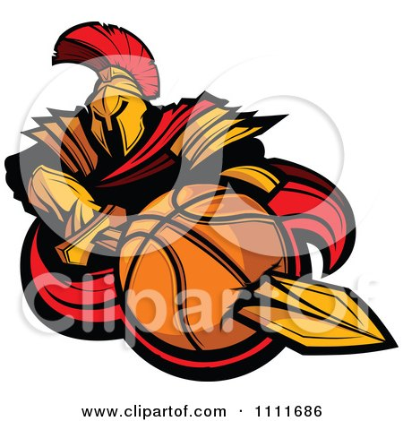 Clipart Spartan Warrior Mascot Stabbing A Basketball With His Golden Sword - Royalty Free Vector Illustration by Chromaco