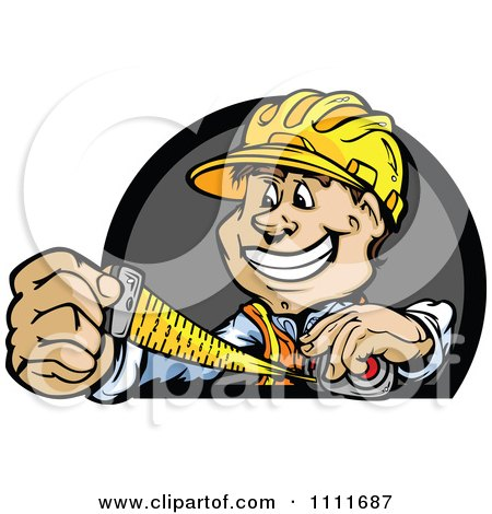 Clipart Happy Construction Worker Man Using Measuring Tape - Royalty Free Vector Illustration by Chromaco