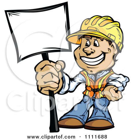 Clipart Happy Construction Worker Man Holding A Sign - Royalty Free Vector Illustration by Chromaco