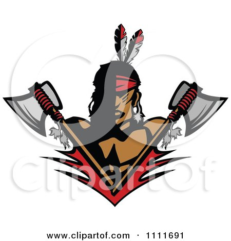 Clipart Native American Indian Brave Man With Crossed Axes - Royalty Free Vector Illustration by Chromaco