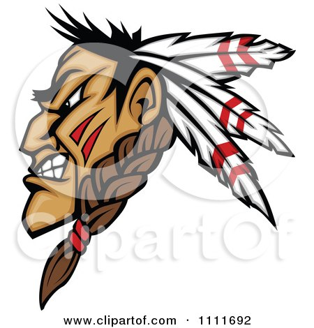 Clipart Profiled Native American Indian Brave Man With Three Feathers And A Braid - Royalty Free Vector Illustration by Chromaco
