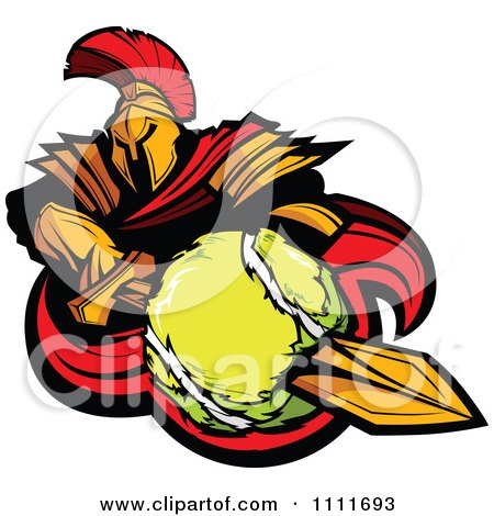 Clipart Spartan Warrior Mascot Stabbing A Tennis Ball With His Golden Sword - Royalty Free Vector Illustration by Chromaco