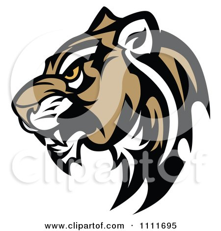Clipart Tough Cougar Mascot Head In Profile - Royalty Free Vector Illustration by Chromaco