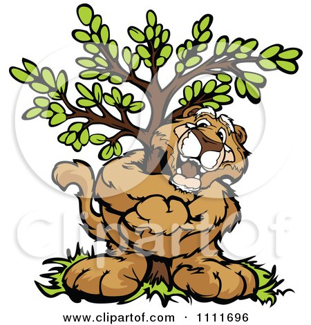 Clipart Cougar Mascot Hugging A Tree - Royalty Free Vector Illustration by Chromaco
