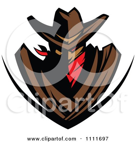 Clipart Cowboy Outlaw Shield - Royalty Free Vector Illustration by Chromaco