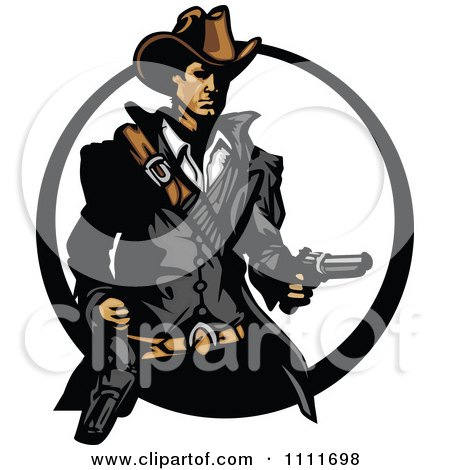 Clipart Western Cowboy Holding A Revolver In A Circle - Royalty Free Vector Illustration by Chromaco