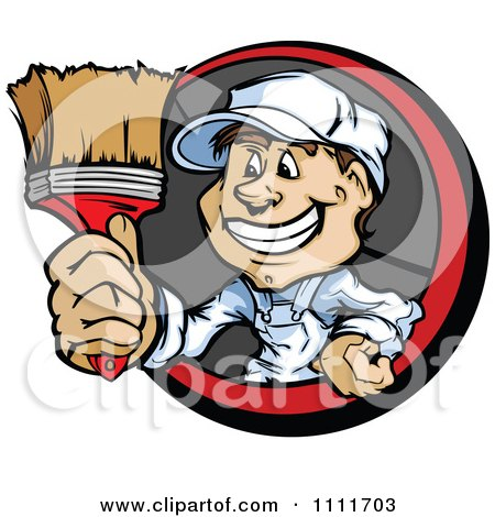 Clipart Happy Painter Guy Holding Out A Brush - Royalty Free Vector Illustration by Chromaco