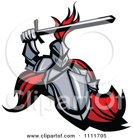 Clipart Medieval Knight Mascot With A Shield And Sword - Royalty Free Vector Illustration by Chromaco