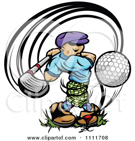 Clipart Golfer Teeing Off With A Big Swing - Royalty Free Vector Illustration by Chromaco