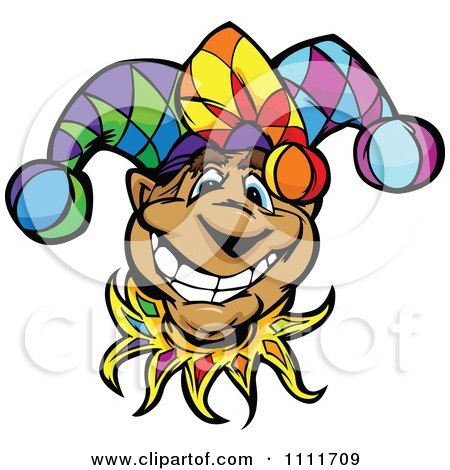 Clipart Happy Smiling Jester Face - Royalty Free Vector Illustration by Chromaco