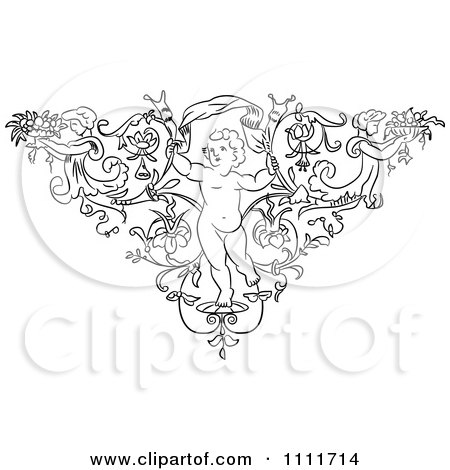 Clipart Outlined Cherub In A Floral Triangle With Angels - Royalty Free Vector Illustration by Prawny Vintage
