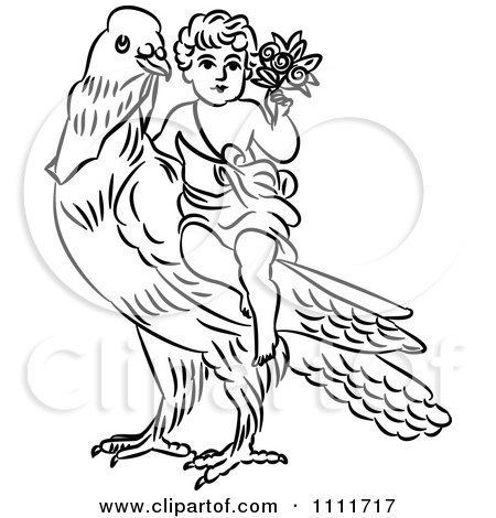 Clipart Outlined Cherub With Flowers On A Dove - Royalty Free Vector Illustration by Prawny Vintage