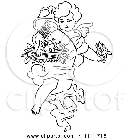 Clipart Outlined Cherub With Flowers - Royalty Free Vector Illustration by Prawny Vintage