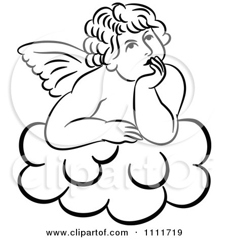 Clipart Outlined Cherub Daydreaming On A Cloud - Royalty Free Illustration by Prawny Vintage