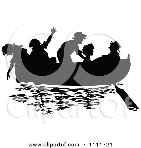 Clipart Silhouetted Kids In A Boat In Black And White - Royalty Free Vector Illustration by Prawny Vintage