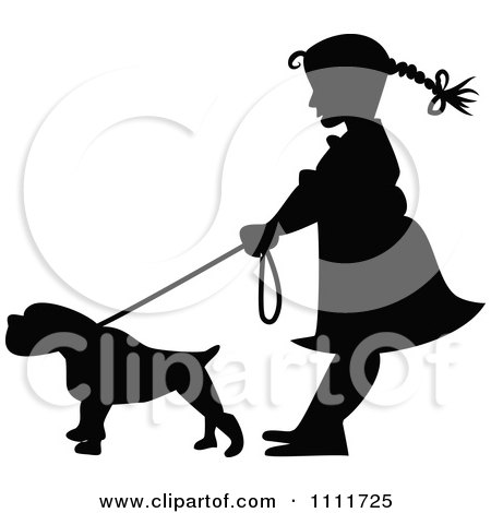 Clipart Silhouetted Girl With A Dog On A Leash  In Black And White - Royalty Free Vector Illustration by Prawny Vintage