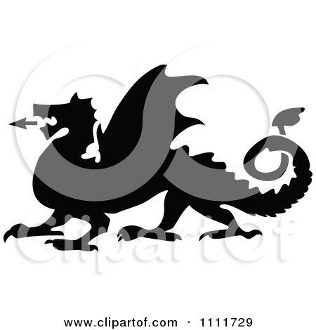Clipart Silhouetted Roaring Dragon In Black And White - Royalty Free Vector Illustration by Prawny Vintage