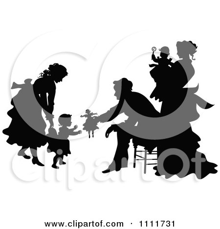 Clipart Silhouetted Family Playing In Black And White - Royalty Free Vector Illustration by Prawny Vintage