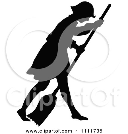 Clipart Silhouetted Girl Sweeping With A Broom In Black And White - Royalty Free Vector Illustration by Prawny Vintage