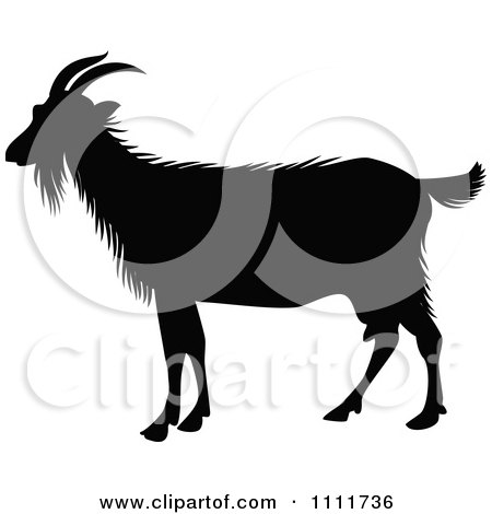 Clipart Silhouetted Goat In Black And White - Royalty Free Vector Illustration by Prawny Vintage
