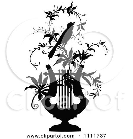 Clipart Silhouetted Bird On A Vine With A Lyre In Black And White - Royalty Free Vector Illustration by Prawny Vintage