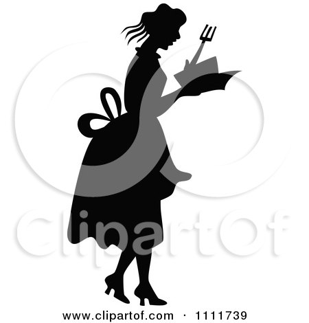 Clipart Silhouetted Woman Holding A Cook Book In Black And White - Royalty Free Vector Illustration by Prawny Vintage