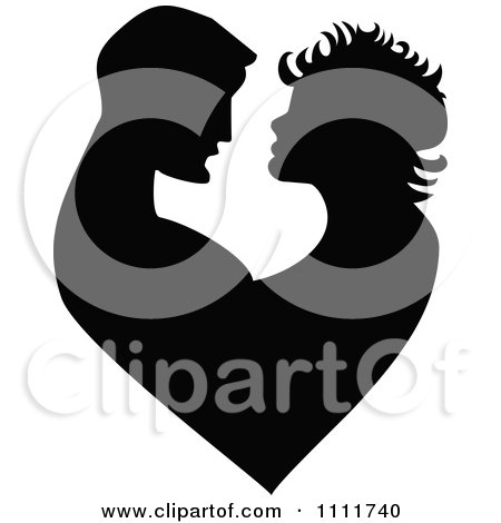 Clipart Silhouetted Embracing Couple Forming A Heart In Black And White - Royalty Free Vector Illustration by Prawny Vintage