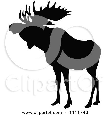 Clipart Silhouetted Moose In Black And White 1 - Royalty Free Vector Illustration by Prawny Vintage