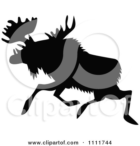 Clipart Silhouetted Moose In Black And White 2 - Royalty Free Vector Illustration by Prawny Vintage