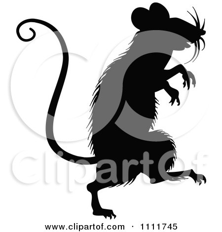Clipart Silhouetted Mouse In Black And White - Royalty Free Vector Illustration by Prawny Vintage