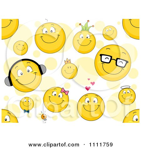 Clipart Seamless Smiley Emoticon Pattern With Circles - Royalty Free Vector Illustration by BNP Design Studio