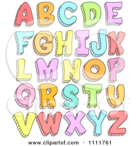 Clipart Colorful Doodled Capital Letters - Royalty Free Vector Illustration by BNP Design Studio