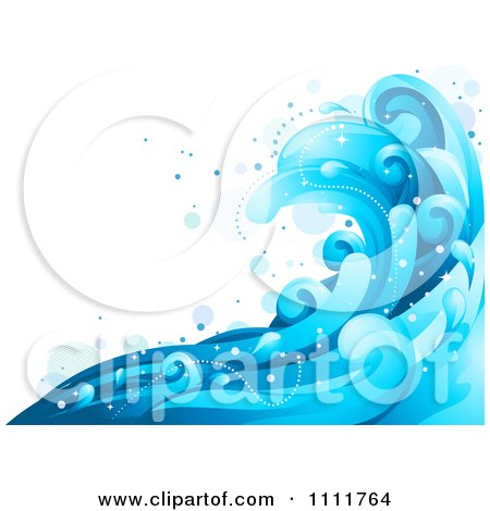 Clipart Blue Ocean Surf Splashes 1 - Royalty Free Vector Illustration by BNP Design Studio