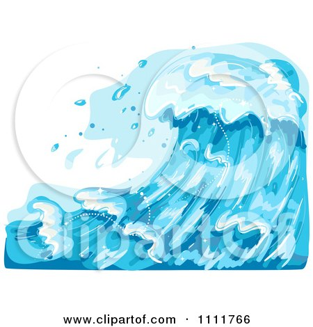 Clipart Large Blue Ocean Waves - Royalty Free Vector Illustration by BNP Design Studio