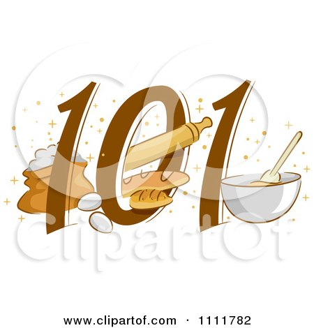 Clipart Baking 101 Icon With Eggs Bread And A Bowl - Royalty Free Vector Illustration by BNP Design Studio