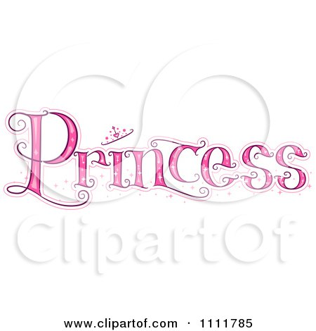 Clipart The Stylized Word PRINCESS With A Crown - Royalty Free Vector Illustration by BNP Design Studio