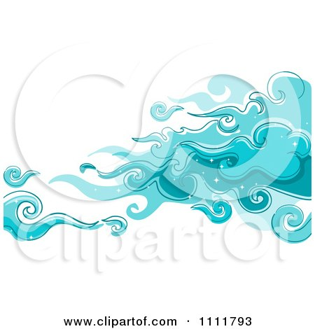 Clipart Magical Blue Clouds In The Sky - Royalty Free Vector Illustration by BNP Design Studio