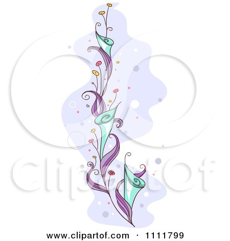 Clipart Beautiful Purple Vine With Blue Flowers - Royalty Free Vector Illustration by BNP Design Studio