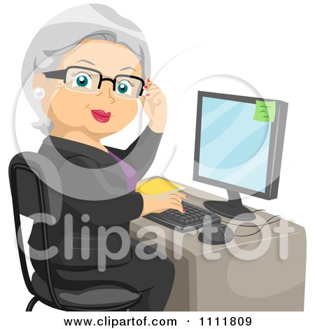 Clipart Female Senior Citizen Working At An Office Computer Desk - Royalty Free Vector Illustration by BNP Design Studio