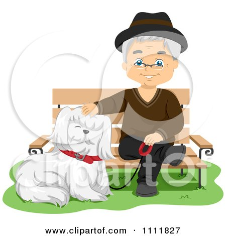 Happy Male Senior Citizen With A Dog At A Park Bench Posters, Art Prints