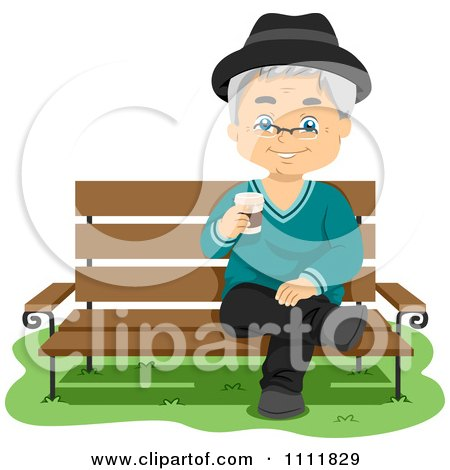 Happy Male Senior Citizen With Coffe On A Park Bench Posters, Art Prints