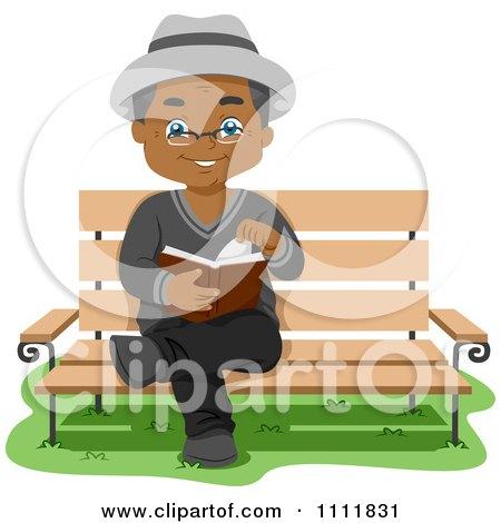 Clipart Happy Black Male Senior Citizen Reading On A Park Bench - Royalty Free Vector Illustration by BNP Design Studio