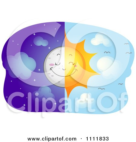 Clipart Split View Of A Happy Sun And Moon - Royalty Free Vector Illustration by BNP Design Studio