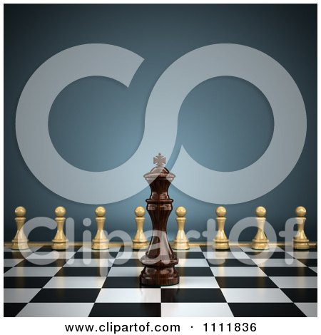 Clipart 3d Chess King On A Chess Board With Pawns Lined Up For Battle - Royalty Free CGI Illustration by stockillustrations