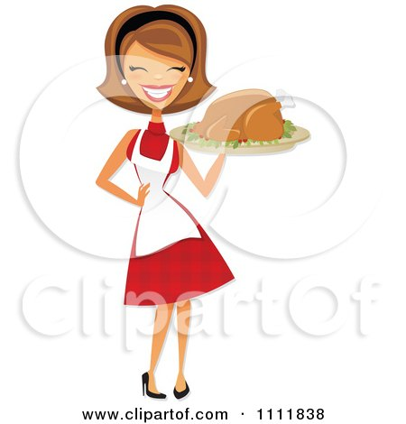 Happy Retro Woman Carrying A Roasted Thanksgiving Or Christmas Turkey On A Platter Posters, Art Prints