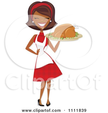 Clipart Happy Black Retro Woman Carrying A Roasted Thanksgiving Or Christmas Turkey On A Platter - Royalty Free Vector Illustration by Amanda Kate