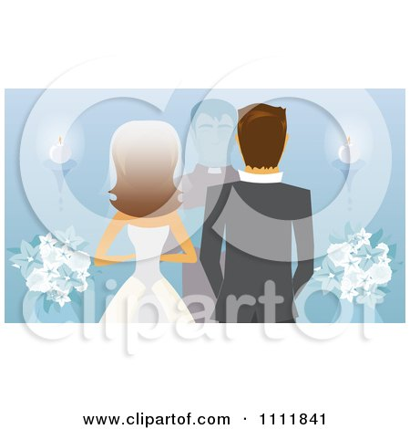 Clipart Rear View Of A Caucasian Bride Groom And Priest Or Pastor At The Alter On Blue - Royalty Free Vector Illustration by Amanda Kate