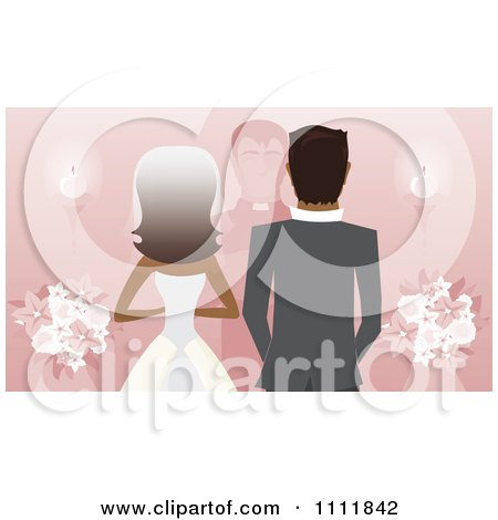 Clipart Rear View Of A Black Bride Groom And Priest Or Pastor At The Alter On Pink - Royalty Free Vector Illustration by Amanda Kate