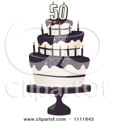 Clipart Three Tiered 50th Birthday Cake With Bats And Black Frosting